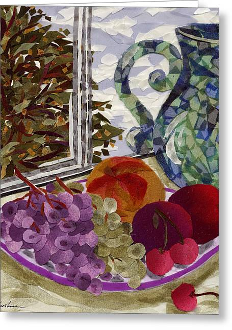 Peach Tapestries - Textiles Greeting Cards - Still Life Greeting Card by Marina Gershman