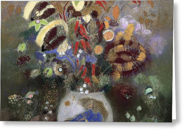 Still Life of a Vase of Flowers Greeting Card by Odilon Redon