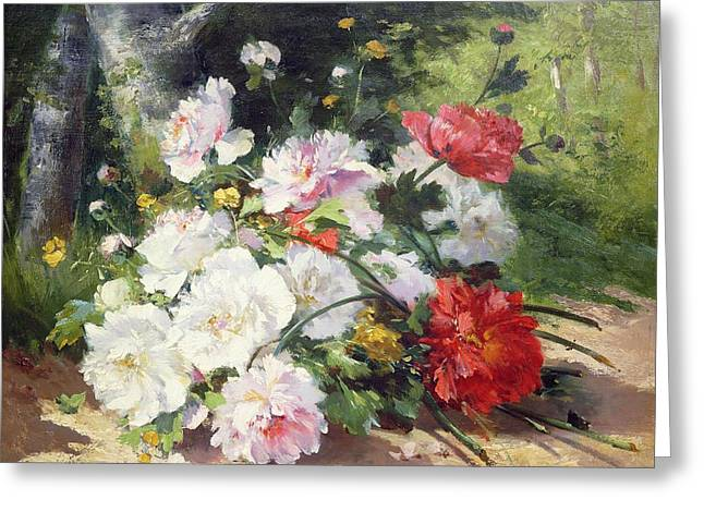Roses Greeting Cards - Still Life of Flowers Greeting Card by Eugene Henri Cauchois