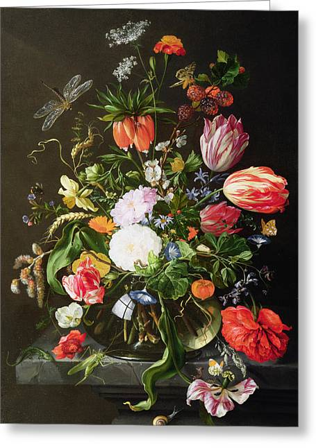 Morning Greeting Cards - Still Life of Flowers Greeting Card by Jan Davidsz de Heem