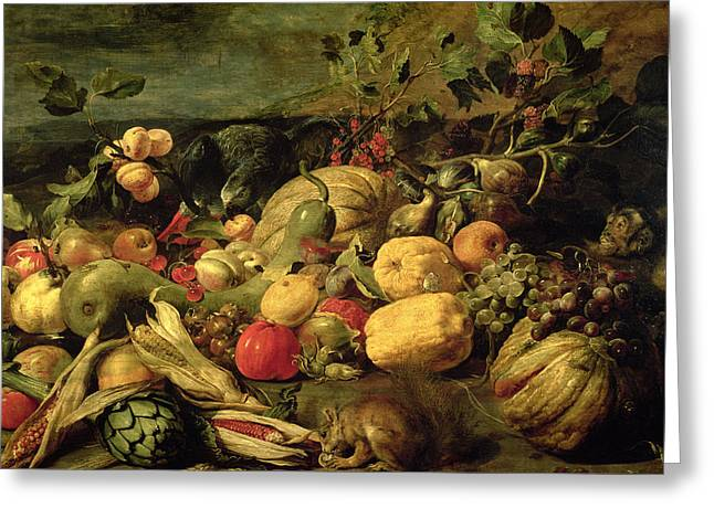 Fran Greeting Cards - Still Life of Fruits and Vegetables Greeting Card by Frans Snyders