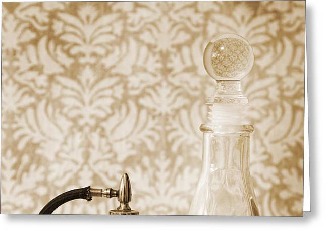 Still life of perfume decanters Greeting Card by Marlene Ford