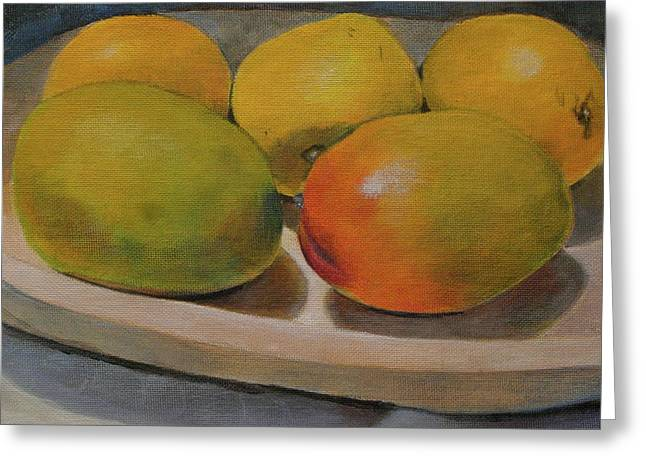 Mango Paintings Greeting Cards - Still life of ripe mangos in a wooden bowl Greeting Card by Walt Maes