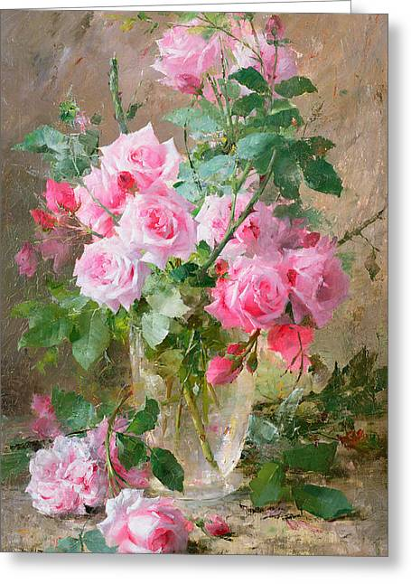 Roses Paintings Greeting Cards - Still life of roses in a glass vase  Greeting Card by Frans Mortelmans
