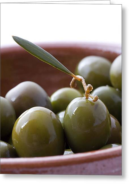 Campo Greeting Cards - Still life of Spanish Campo Real olives Greeting Card by Frank Tschakert