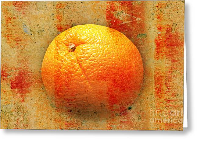 Tropics Mixed Media Greeting Cards - Still Life Orange Abstract Greeting Card by Andee Design