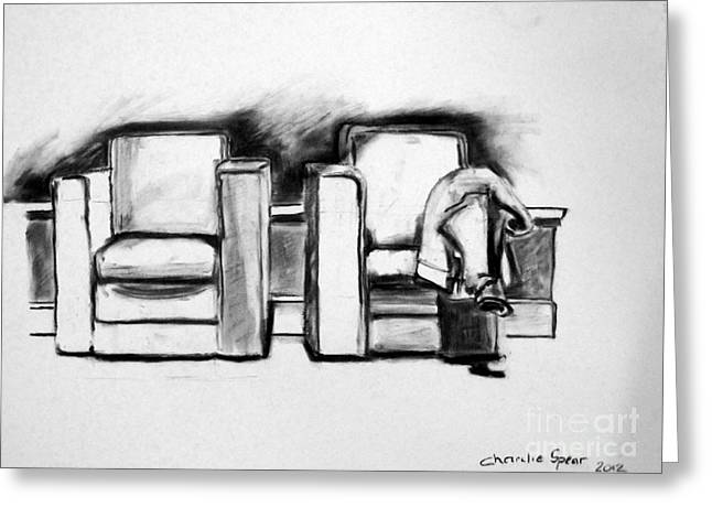 Conversations Drawings Greeting Cards - STILL LIFE PAIR of CHAIRS Greeting Card by Charlie Spear