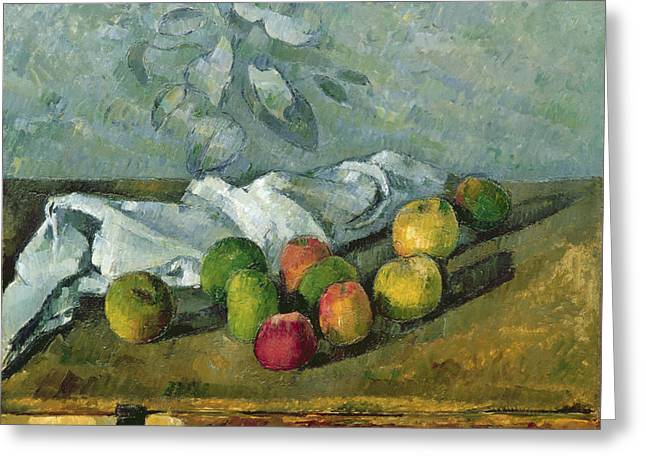 Cloth Greeting Cards - Still Life Greeting Card by Paul Cezanne