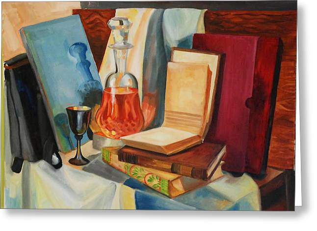Decanters Paintings Greeting Cards - Still life Greeting Card by Talia Prilutsky