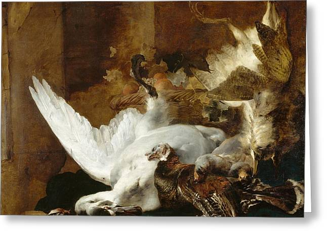 Still Life With Fruit Greeting Cards - Still life with a dead swan Greeting Card by Jan Weenix