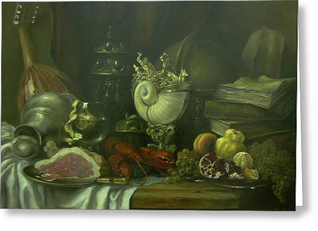 Still Life With Tangerines Paintings Greeting Cards - Still-life with a lobster Greeting Card by Tigran Ghulyan