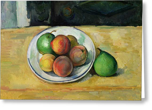 Table Greeting Cards - Still Life with a Peach and Two Green Pears Greeting Card by Paul Cezanne