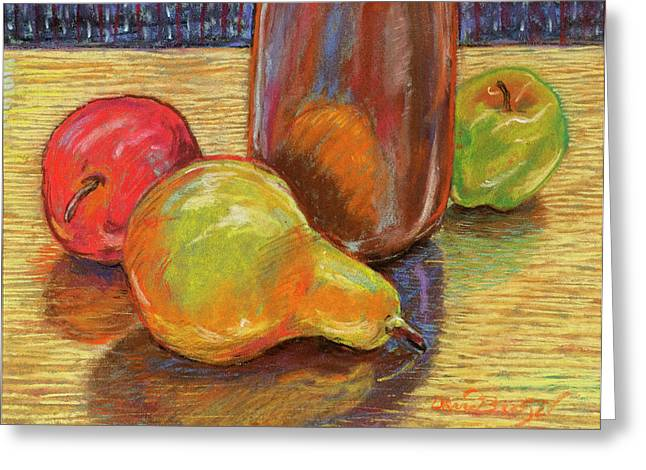 Still Life With Green Apples Greeting Cards - Still Life with a Pear Greeting Card by David Bratzel