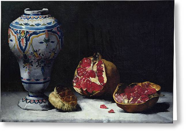 Linen Greeting Cards - Still Life with a Pomegranate Greeting Card by Auguste Theodule Ribot