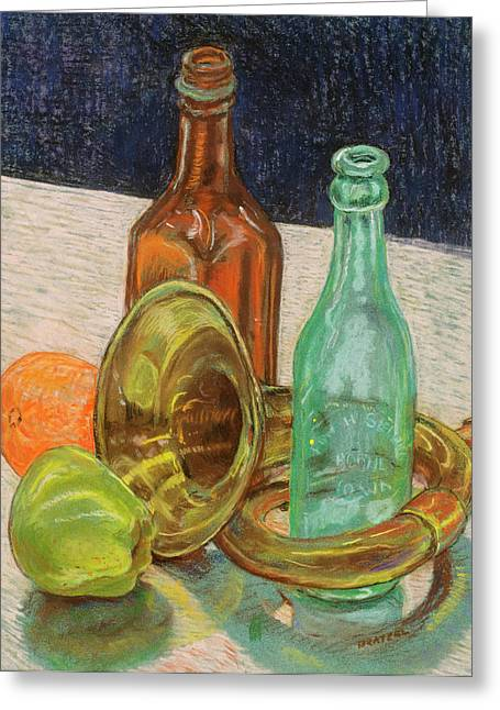 Bottle. Bottling Pastels Greeting Cards - Still Life with Antique Car Horn Greeting Card by David Bratzel