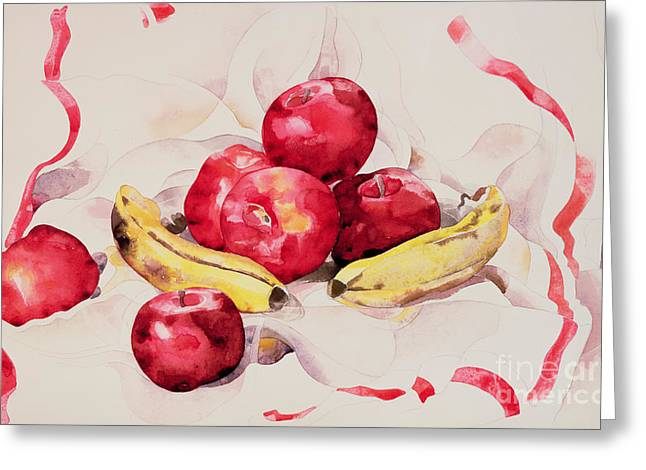 Demuth Greeting Cards - Still Life with Apples and Bananas Greeting Card by Charles Demuth