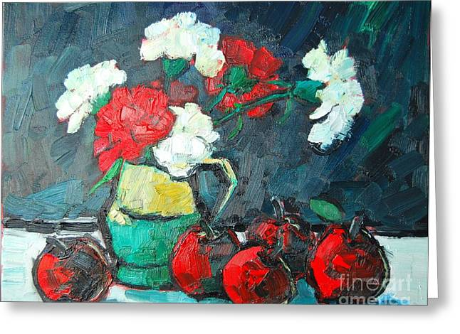 Still Life With Green Apples Greeting Cards - Still Life With Apples And Carnations Greeting Card by Ana Maria Edulescu