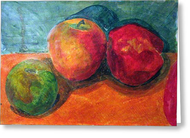 Jame Hayes Paintings Greeting Cards - Still Life with Apples Greeting Card by Jame Hayes