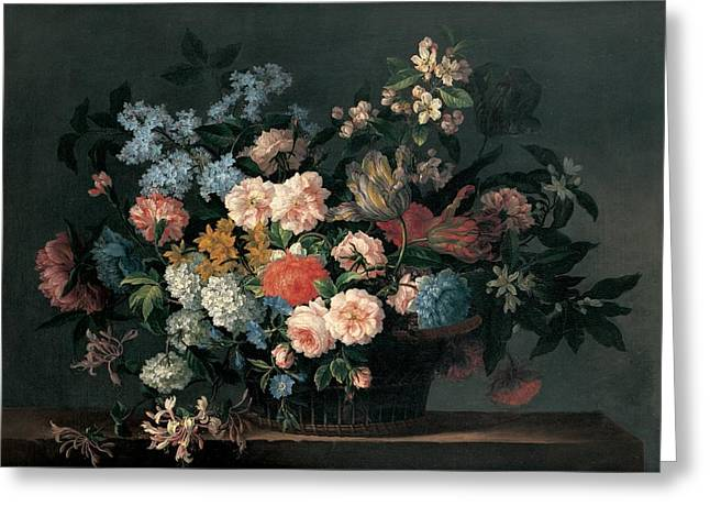 Mums Paintings Greeting Cards - Still life with basket of flowers Greeting Card by Jean-Baptiste Monnoyer