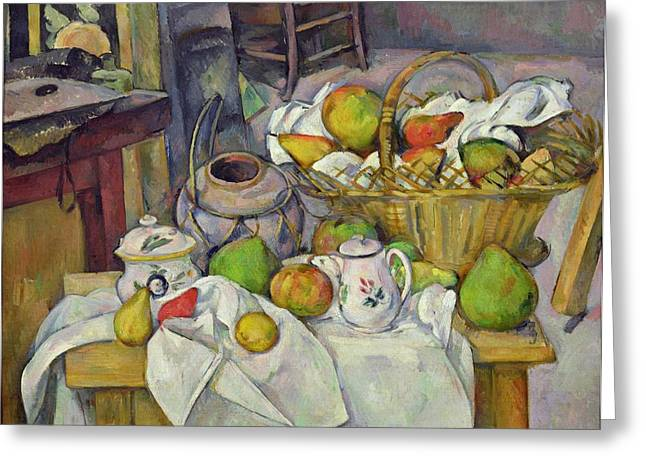 Still Life With Pears Greeting Cards - Still life with basket Greeting Card by Paul Cezanne