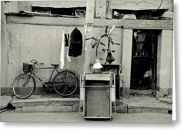 Peking Greeting Cards - Still Life with Bicycles and Laundry Greeting Card by Dean Harte