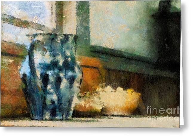 Window Of Life Greeting Cards - Still Life With Blue Jug Greeting Card by Lois Bryan