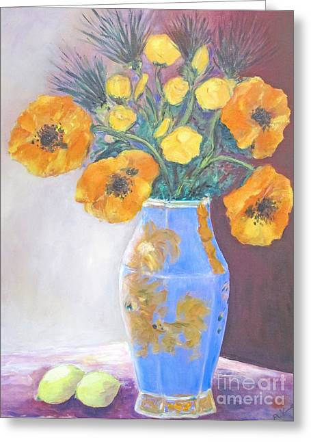 Barbara Anna Knauf Greeting Cards - Still  Life with Blue Vase Greeting Card by Barbara Anna Knauf