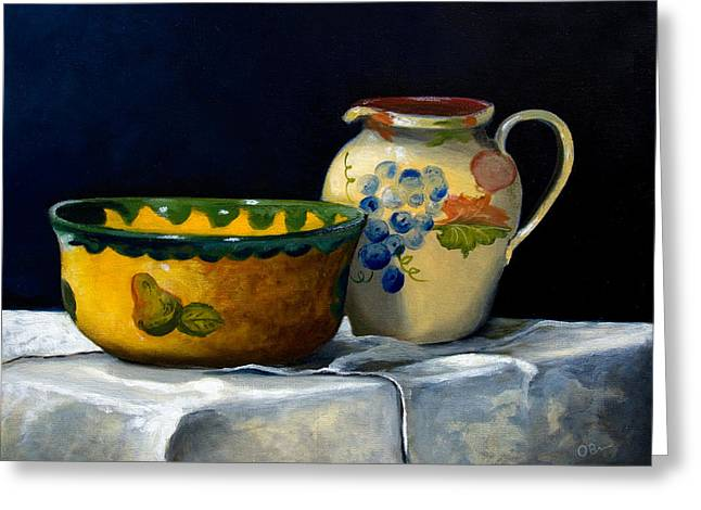 Table Cloth Drawings Greeting Cards - Still Life with Bowl and Pitcher Greeting Card by John OBrien