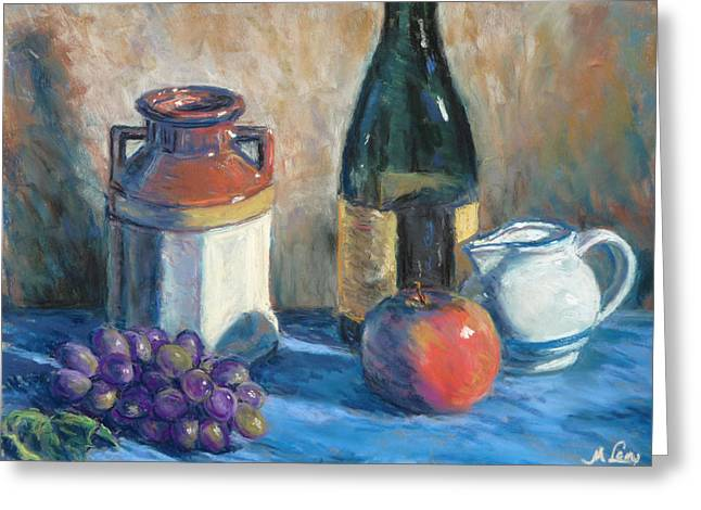 Apple Pastels Greeting Cards - Still Life with Crock and Apple Greeting Card by Michael Camp