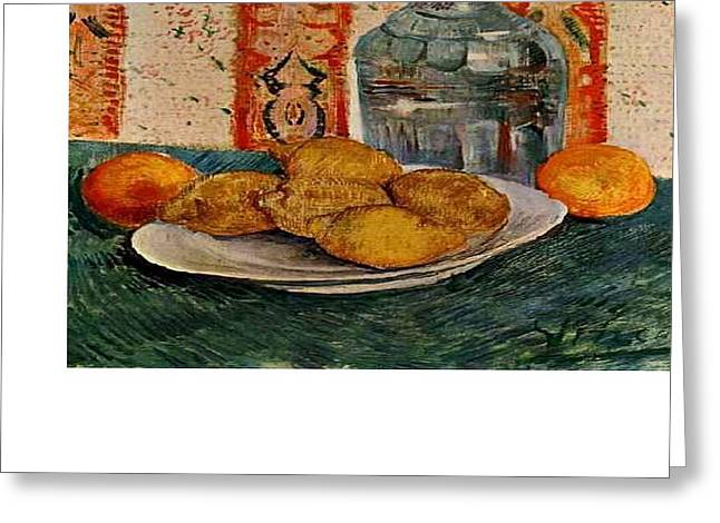 Van Gogh Influence Greeting Cards - Still Life with Decanter and Lemons on a Plate Greeting Card by Van Gogh