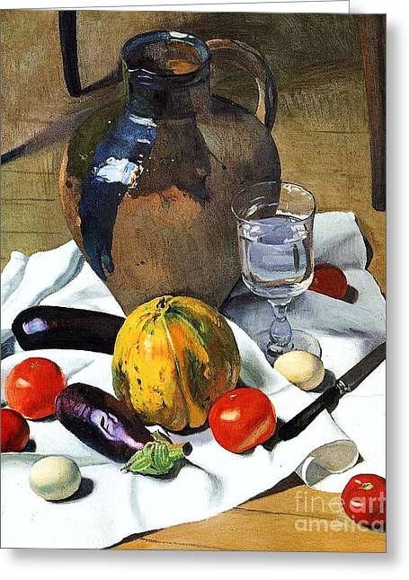 Waterglass Greeting Cards - Still Life with Earthenware Jug Greeting Card by Pg Reproductions