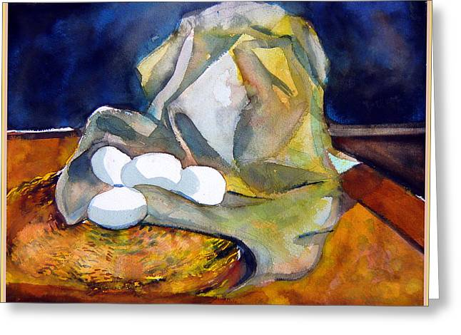 Interior Still Life Mixed Media Greeting Cards - Still Life with Eggs Greeting Card by Mindy Newman