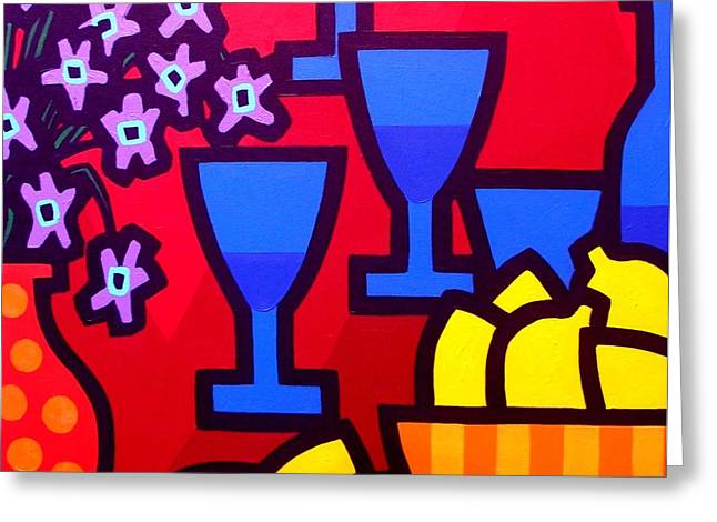 Flower Still Life Prints Greeting Cards - Still Life With Five Blue Glasses Greeting Card by John  Nolan