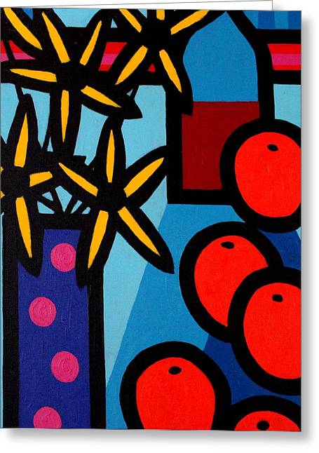 Flower Still Life Prints Greeting Cards - Still Life With Five Oranges Greeting Card by John  Nolan