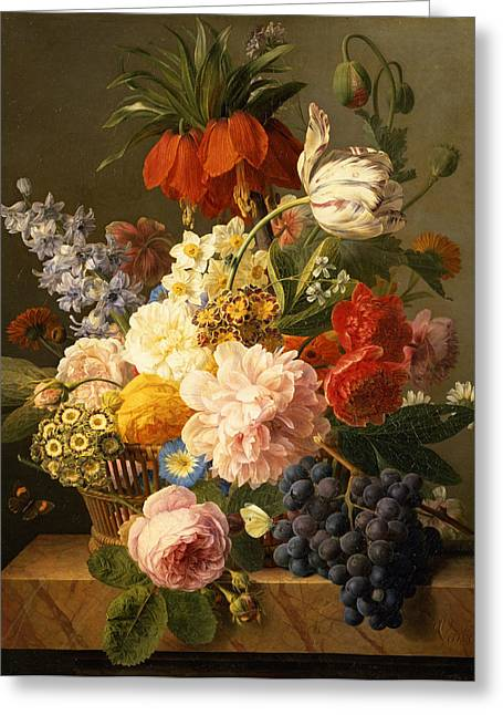 20th Century Greeting Cards - Still Life with Flowers and Fruit Greeting Card by Jan Frans van Dael