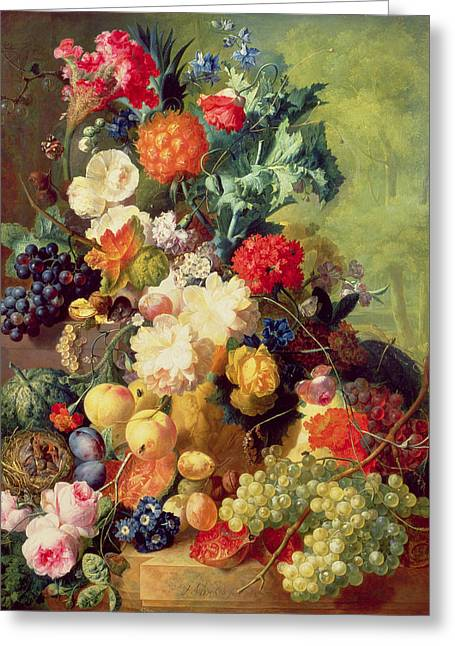 Birds With Flowers Greeting Cards - Still Life with Flowers and Fruit Greeting Card by Jan van Os