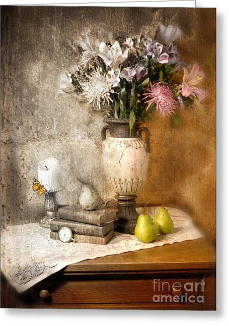 Still Life With Pears Greeting Cards - Still Life With Flowers And Pears Greeting Card by Jill Battaglia