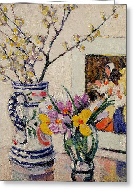 Flower Still Life Greeting Cards - Still life with flowers in a vase   Greeting Card by Rowley Leggett