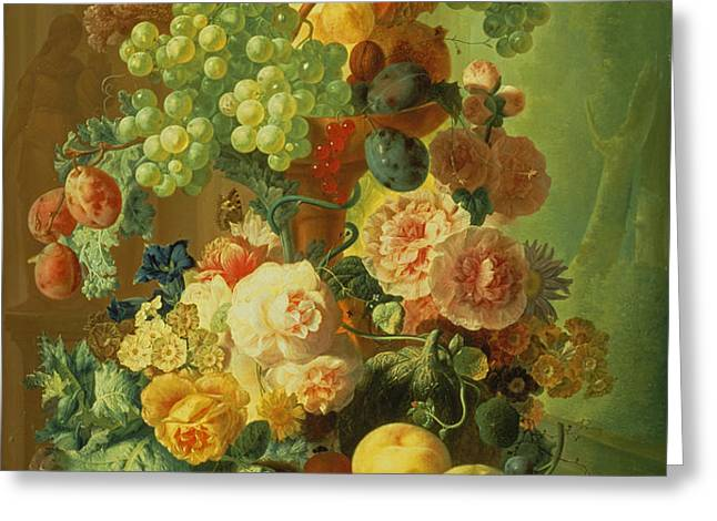 Still Life with Fruit and Flowers Greeting Card by Jan van Os