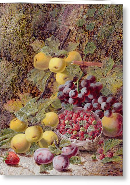 Still Life With Fruit Greeting Cards - Still Life with Fruit Greeting Card by Oliver Clare