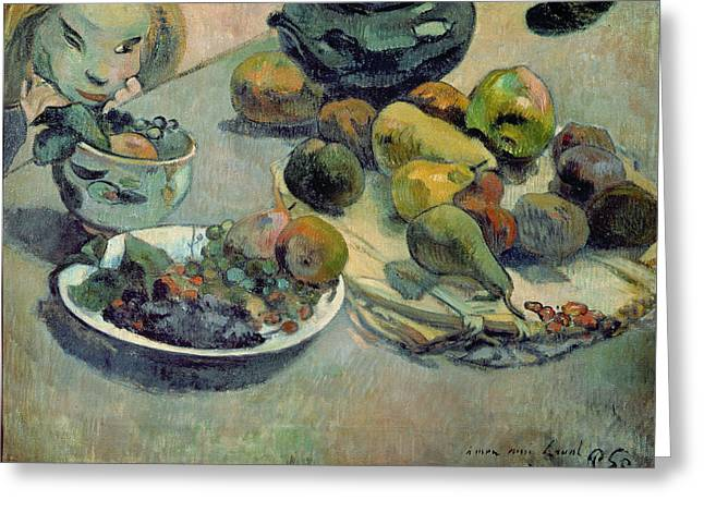Hunger Greeting Cards - Still Life with Fruit Greeting Card by Paul Gauguin