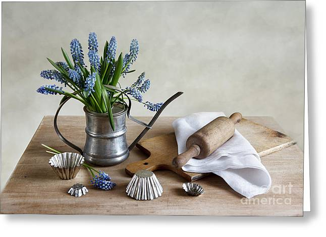 Watering Can Greeting Cards - Still Life with grape hyacinths Greeting Card by Nailia Schwarz