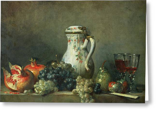 Glass Of Wine Paintings Greeting Cards - Still Life with Grapes and Pomegranates Greeting Card by Jean-Baptiste Simeon Chardin