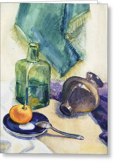 Art Decor Greeting Cards - Still Life With Green Bottle Greeting Card by Irina Sztukowski