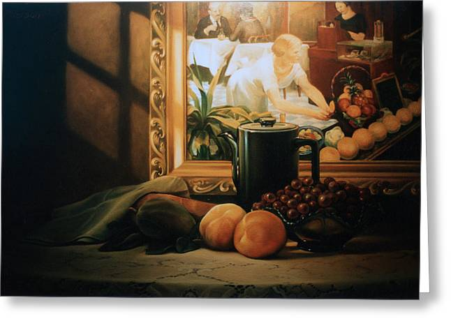 Grapefruit Greeting Cards - Still Life with Hopper Greeting Card by Patrick Anthony Pierson