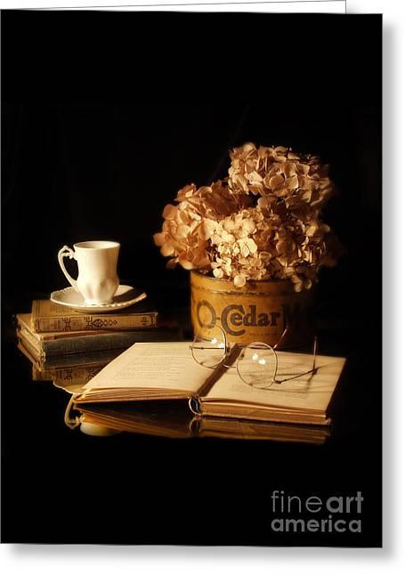Dried Hydrangeas Greeting Cards - Still Life with Hydrangea and Books Greeting Card by Jill Battaglia