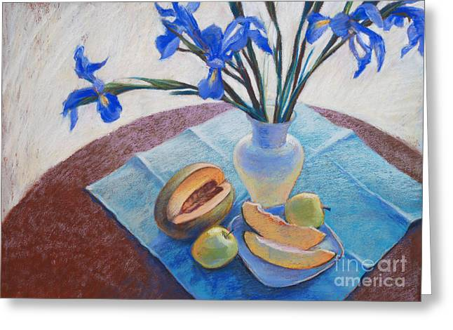 Watermelon Drawings Greeting Cards - Still Life with Irises. Greeting Card by Ekaterina Gomol