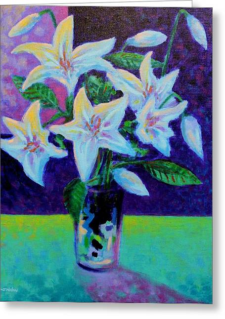Acrylic Greeting Cards - Still Life With Lilies Greeting Card by John  Nolan