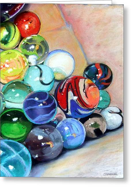 Still Life With Marbles 07 Greeting Card by Sue Gardner