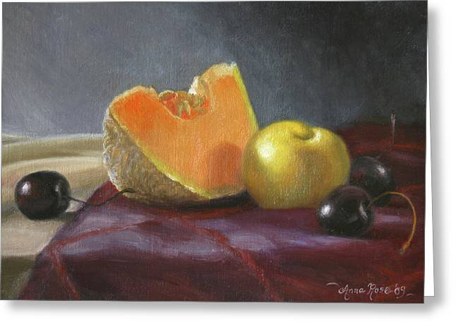 Cantaloupe Greeting Cards - Still Life with Melon and Plumcot Greeting Card by Anna Bain